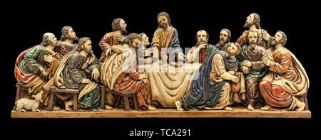 Caceres, Spain - March 28th, 2019: Last Supper depiction at Guayasamín House-Museum. Extremadura, Spain. - Stock Photo