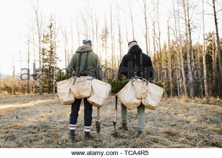 Volunteers planting trees in woods - Stock Photo