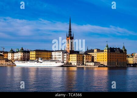 Scenic panorama of the Old Town (Gamla Stan) in Stockholm, Sweden. - Stock Photo