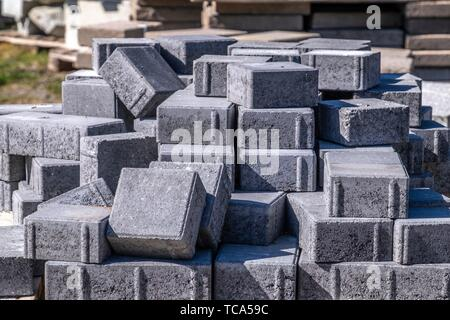 Piles of building material in the forest of Sweden. - Stock Photo