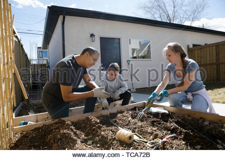 Family gardening in sunny backyard - Stock Photo