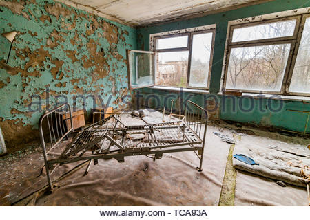 Pripyat, Chernobyl exclusion zone. The interior of the ward in a hospital in an abandoned city. - Stock Photo