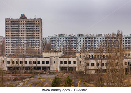 Pripyat, Chernobyl exclusion zone. View of the city center and residential buildings. - Stock Photo