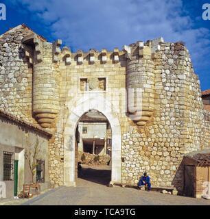 Old Castillian Town Gate. Hita (Guadalajara) Spain. Hita is a municipality in the comarca of La Alcarria, in the province of Guadalajara (province), - Stock Photo