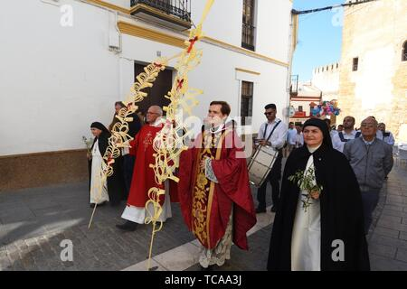 Easter procession of Palmas, Carmona, Puerta de Sevilla, Seville province, Andalusia, Spain. - Stock Photo