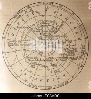 Badajoz, Spain - Jan 7th, 2019: Old Antarctic Exploration map, 1950. Picture from book Enciclopedia Autodidactica written in spanish by Dalmau - Stock Photo