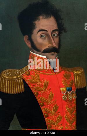 José Gil de Castro (Lima 1785-1837), Simón Bolivar portrait (1823), Peruvian painting, Art Museum of Lima, Lima, Peru. - Stock Photo