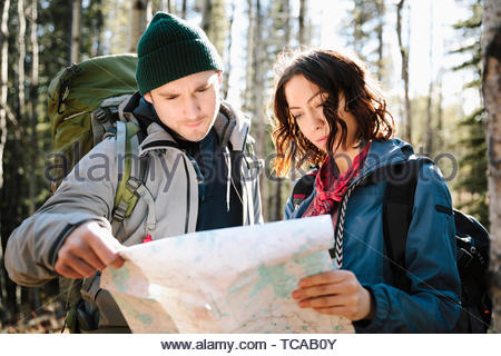 Couple with map hiking in sunny woods - Stock Photo