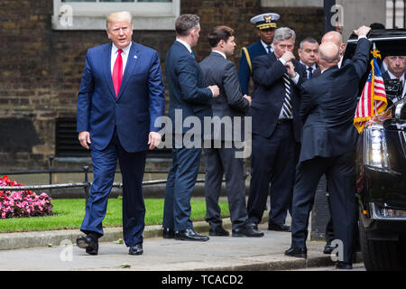 London, UK. 4 June, 2019. US President Donald Trump arrives in Downing Street to meet Prime Minister Theresa May on the second day of his state visit  - Stock Photo