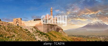 Exterior walls with Minarete of the Mosque of the 18th Century Ottoman architecture of the Ishak Pasha Palace (Turkish: ?shak Pa?a Saray?) , Agr?