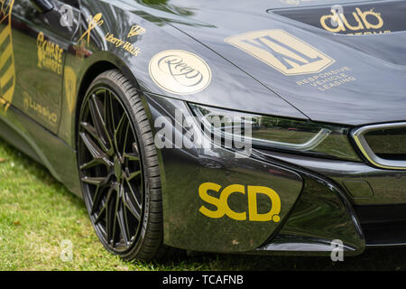 Bedford, Bedfordshire, UK. June 2 2019. Festival of Motoring, fragment of a BMW i8 is a plug-in hybrid sports car developed by BMW - Stock Photo
