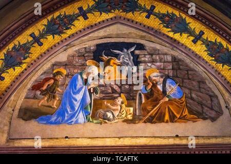 Baby Jesus Virgin Mary Joseph Nativity Scene Fresco Chapel Santa Maria Novella Church Florence Italy. First Church in Florence founded 1357. - Stock Photo