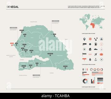 Vector map of Senegal. Country map with division, cities and capital Dakar. Political map,  world map, infographic elements. - Stock Photo