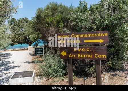 An information sign at ANZAC cove, site of World War I landing of the ANZACs on the Gallipoli peninsula in Canakkale Turkey. - Stock Photo