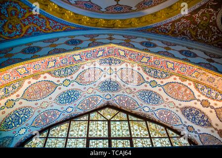 View of Ceiling of Circumcision Room at Topkapi Palace, a large museum destination,in Istanbul,Turkey. 11 April 2018. - Stock Photo