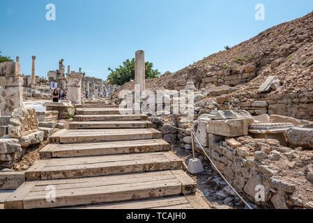 People visit Hercules Gate ancient ruins at Ephesus historical ancient city, in Selcuk,Izmir,Turkey:20 August 2017. - Stock Photo
