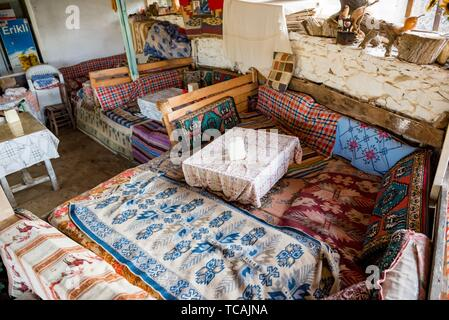 View of a restaurant eating corner where traditional Turkish food Gozleme(pastries,pancake) is sold at Sirince Village,in Selcuk,Izmir,Turkey. 21 - Stock Photo