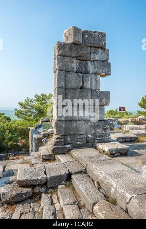 Stone ruins at Temple of Athena of Ancient Greek City in Priene,Soke,Aydin,Turkey. - Stock Photo
