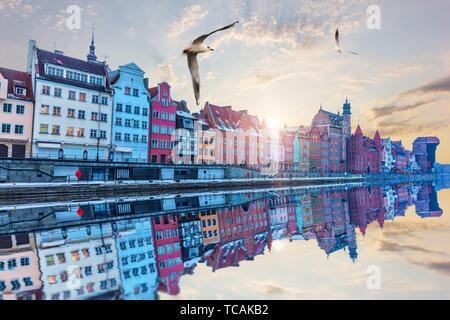 Gdansk riverside beautiful view at sunrise, Poland. - Stock Photo