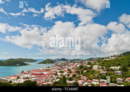 View of Charlotte Amalie, St. Thomas in the U. S. Virgin Islands. - Stock Photo