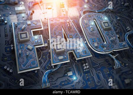 FAQ Frequently asked questions concept. FAQ in form of circuit board on computer motherboard. 3d illustration. - Stock Photo