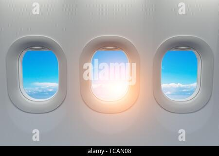 Airplane windows. Travel and tourism fliight concept. 3d illustration. - Stock Photo