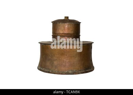 Alcohol Distillery For Making Schnapps, Whiskey, Brandy. Traditional Copper Set.. - Stock Photo