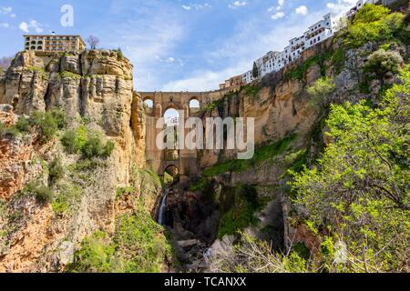 Panoramic of the Tajo de Ronda with the New Bridge, in Ronda, Andalucia, Spain. - Stock Photo