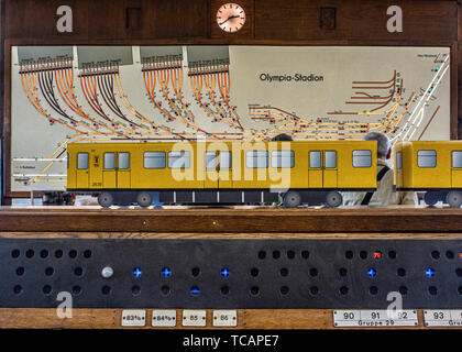 U-Bahn Museum Berlin. Transport museum in one of the former historic control rooms at the Olympia Stadium metro station. - Stock Photo