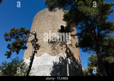 Ancient medieval tower of Caserta Vecchia. Italy. - Stock Photo