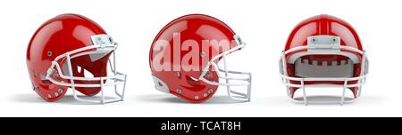 Set of red american football helmets isolated on white background. 3d illustration. - Stock Photo