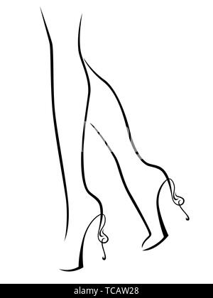 outline of graceful female feet in abstract shoes with