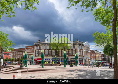 Town centre of Warrington with the Skittles artwork. - Stock Photo