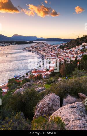 View of Poros island and mountains of Peloponnese peninsula in Greece.. - Stock Photo