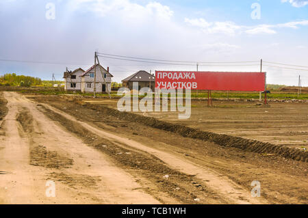 land for sale, suburban areas for construction, Kaliningrad region, Russia, may 4, 2019 - Stock Photo