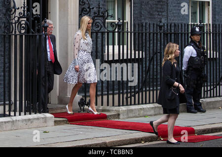 London, UK. 4 June, 2019. White House Advisor Ivanka Trump and US National Security Advisor John Bolton leave 10 Downing Street following lunch and bi - Stock Photo