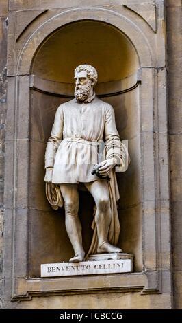 Benvenuto Cellini Statue Uffizi Gallery Florence Tuscany Italy. Statue by Ulisse Cambi in 1800s. Cellini 1500s Sculptor Perseus. - Stock Photo