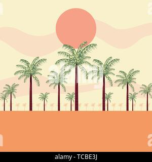 summer time holiday landscape beach palm trees sunny vector illustration - Stock Photo
