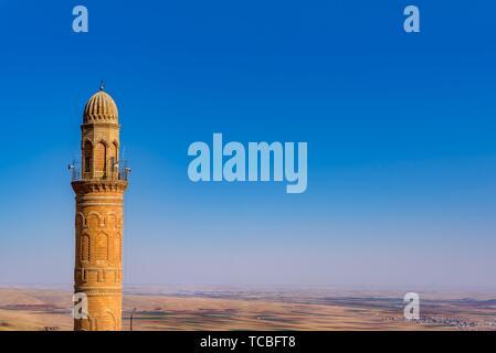 Minaret of Ulu (Grand) Mosque,a popular landmark in Mardin,Turkey. - Stock Photo