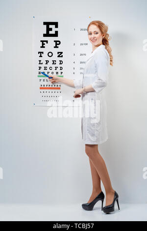 Optical. Doctor - ophthalmologist shows eyesight test  - Stock Photo