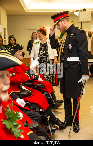 The Duke of Sussex visiting the Margaret Thatcher Infirmary whilst attending Founder's Day celebrations at the Royal Hospital Chelsea in west London. - Stock Photo
