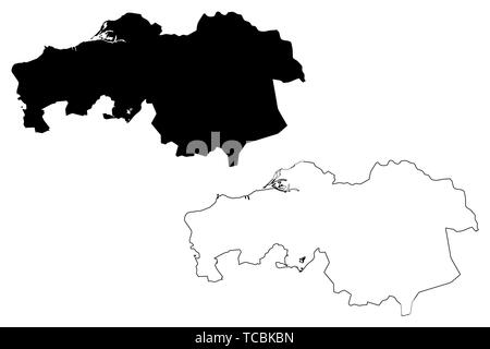 North Brabant province (Kingdom of the Netherlands, Holland) map vector illustration, scribble sketch Brabant map - Stock Photo