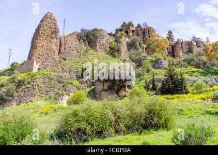 View of the remains of the Arab walls of Ronda, Andalucia, Spain. - Stock Photo