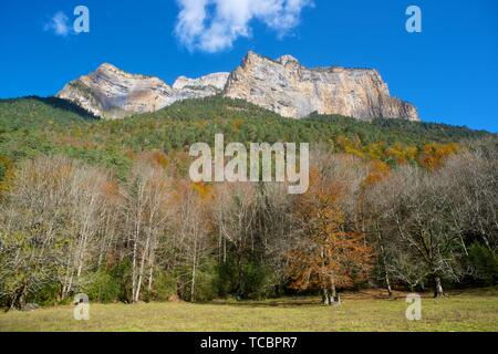 Libro Abierto Wall in the Pyrenees, Ordesa Valley National Park, Aragon, Huesca, Spain. - Stock Photo