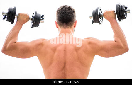 Sport lifestyle. Dumbbell exercise gym. Muscular man exercising with dumbbell rear view. Pain is temporary, pride is forever. Sportsman with strong back and arms. Sport equipment. Bodybuilding sport. - Stock Photo
