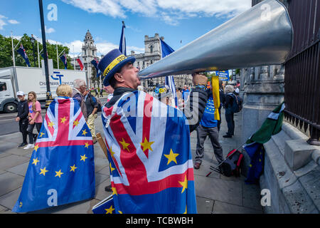 London, UK. 6th June 2019. Steve Bray of SODEM (Stand of Defiance European Movement) shouts through a giant megaphone for Brexit to be stopped at the gates to Parliament. SODEM continue their daily protests while Parliament is in session demanding Britain remain in the European Union. Credit: Peter Marshall/Alamy Live News - Stock Photo