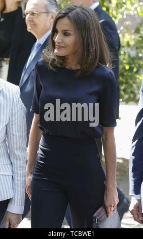 Madrid, Spain. 06th June, 2019. Spanish Queen Letizia arrives to chair a meeting of the Patronage of the Student Residence, in Madrid, Spain, 06 June 2019. Credit: Paco Campos/EFE/Alamy Live News - Stock Photo