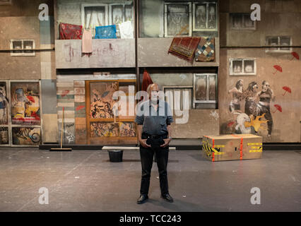 Berlin, Germany. 04th June, 2019. Volker Ludwig, founder of the children and youth theatre Grips stands on stage. (to 'The Berlin Grips Theater turns 50') Credit: Theresa Kottas-Heldenberg/dpa/Alamy Live News - Stock Photo