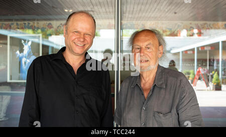 Berlin, Germany. 04th June, 2019. Philipp Harpain, director of the Berliner Grips Theater, and Volker Ludwig, founder of the children and youth theatre Grips, stand in front of the theatre. (to 'The Berlin Grips Theater turns 50') Credit: Theresa Kottas-Heldenberg/dpa/Alamy Live News - Stock Photo