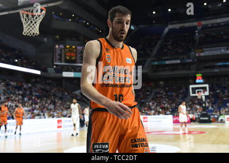 Madrid, Spain. 06th June, 2019. Guillem Vives of Valencia is seen during the semifinals of the Liga ACB match between Real Madrid and Valencia Basket at Wizink Center in Madrid. (Final Score: Real Madrid 94 -72 Valencia Basket) Credit: SOPA Images Limited/Alamy Live News - Stock Photo